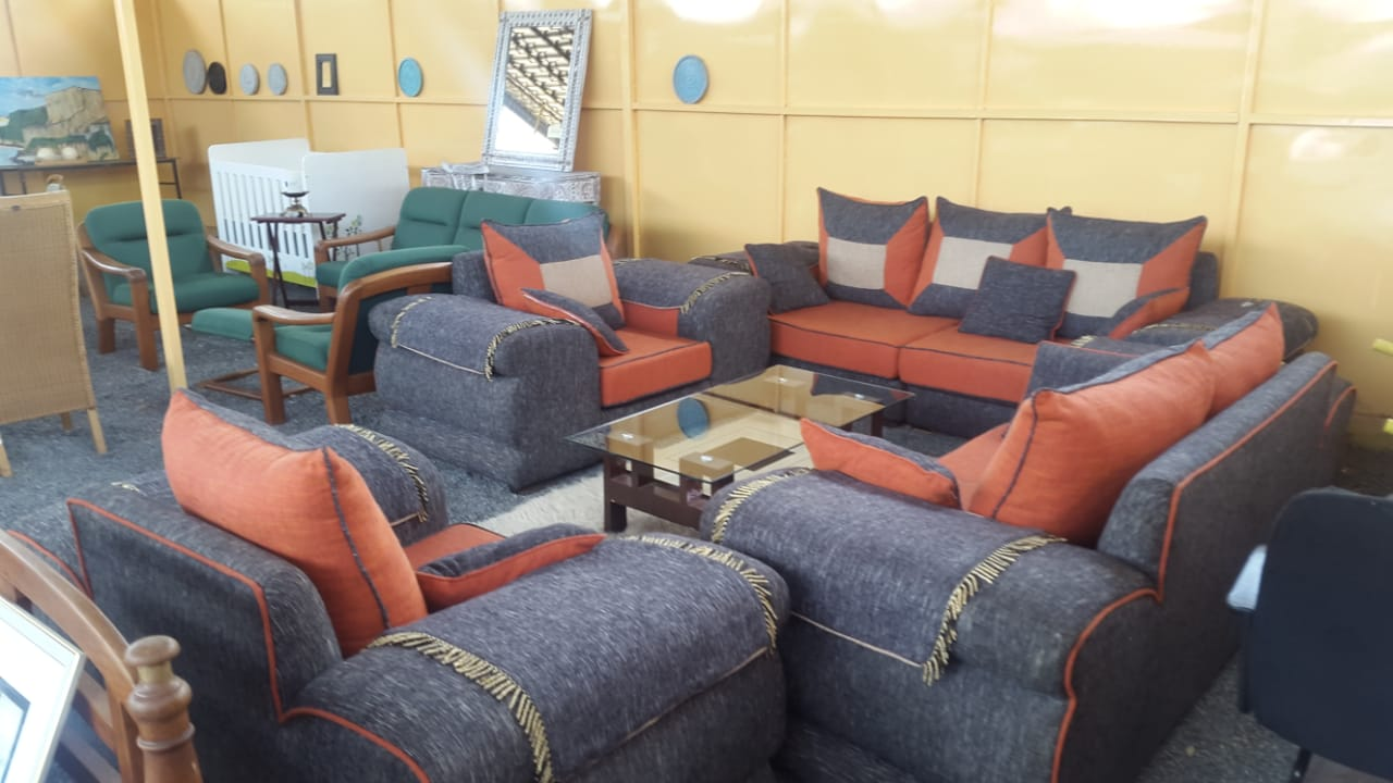 7-seater sofa set (grey and orange)with big pillows - The Auction Centre